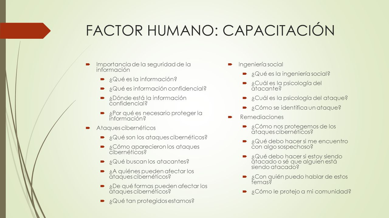 FACTOR HUMANO: CAPACITACIÓN