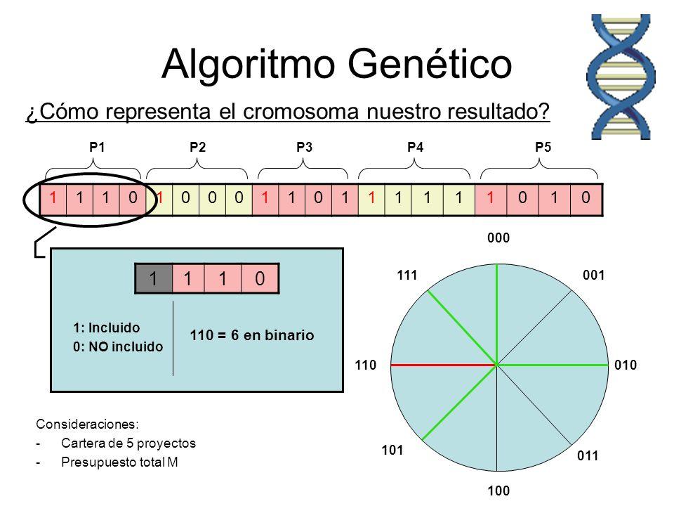 Algoritmo Genético ¿Cómo representa el cromosoma nuestro resultado 1