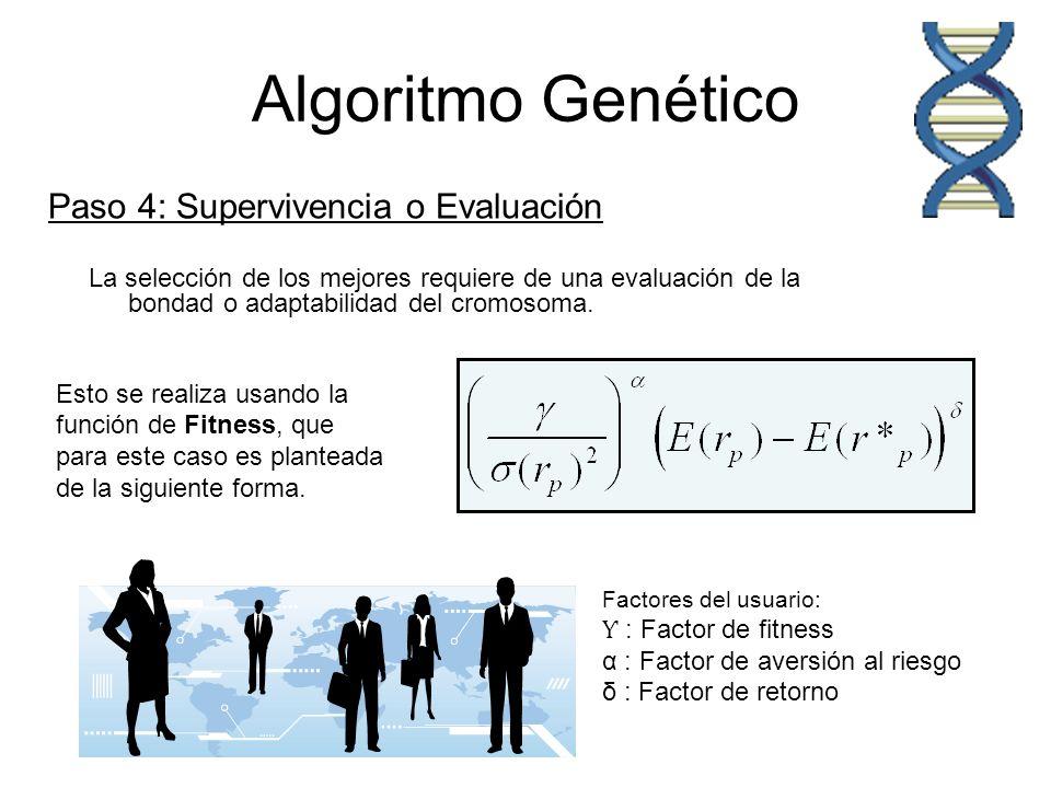 Algoritmo Genético Paso 4: Supervivencia o Evaluación