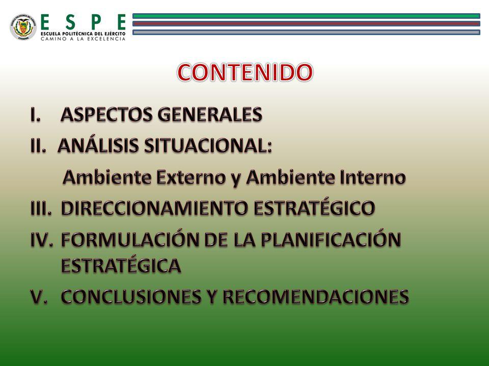 CONTENIDO ASPECTOS GENERALES ANÁLISIS SITUACIONAL: