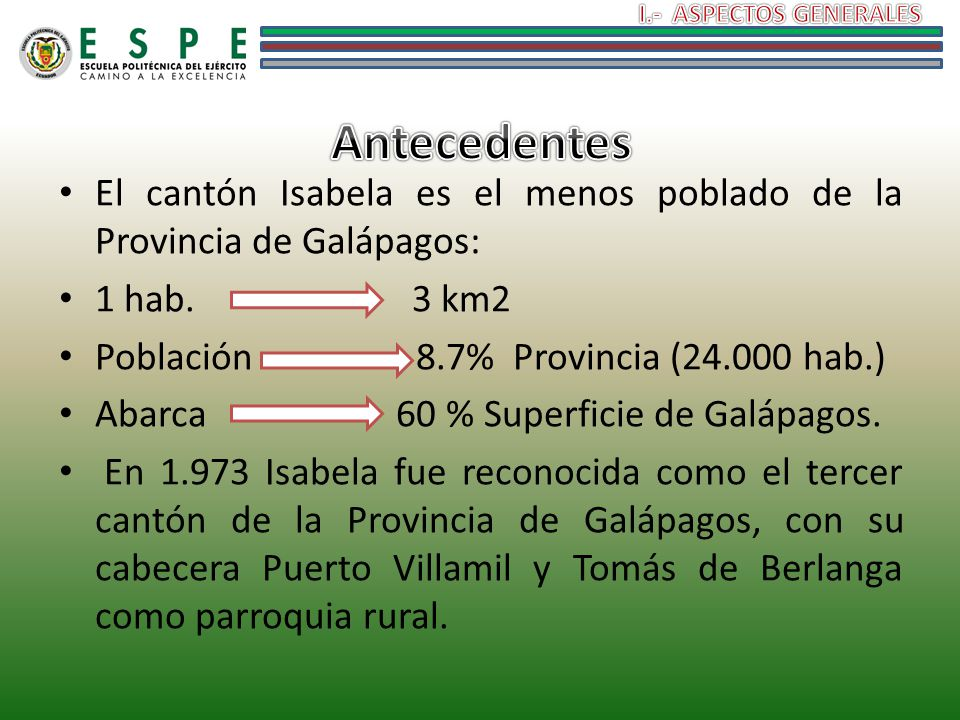 I.- ASPECTOS GENERALES Antecedentes. El cantón Isabela es el menos poblado de la Provincia de Galápagos: