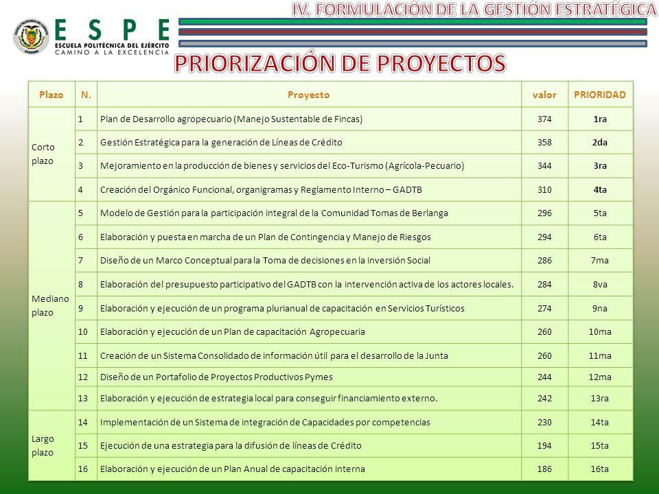 IV. FORMULACIÓN DE LA GESTIÓN ESTRATÉGICA PRIORIZACIÓN DE PROYECTOS