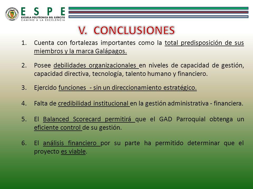V. CONCLUSIONES Cuenta con fortalezas importantes como la total predisposición de sus miembros y la marca Galápagos.