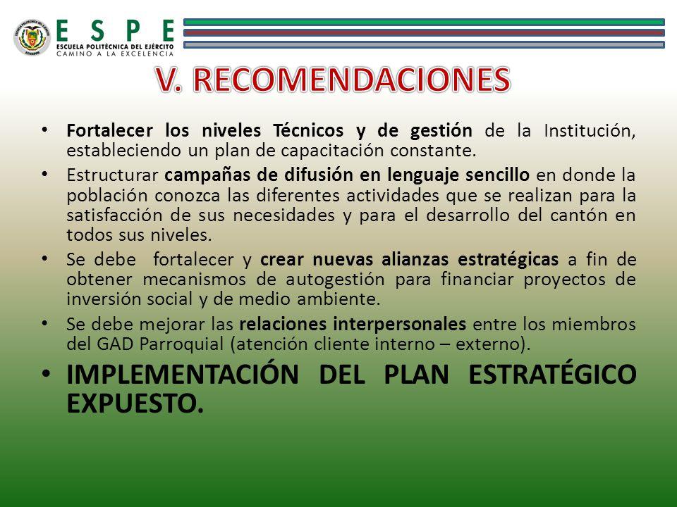 V. RECOMENDACIONES IMPLEMENTACIÓN DEL PLAN ESTRATÉGICO EXPUESTO.