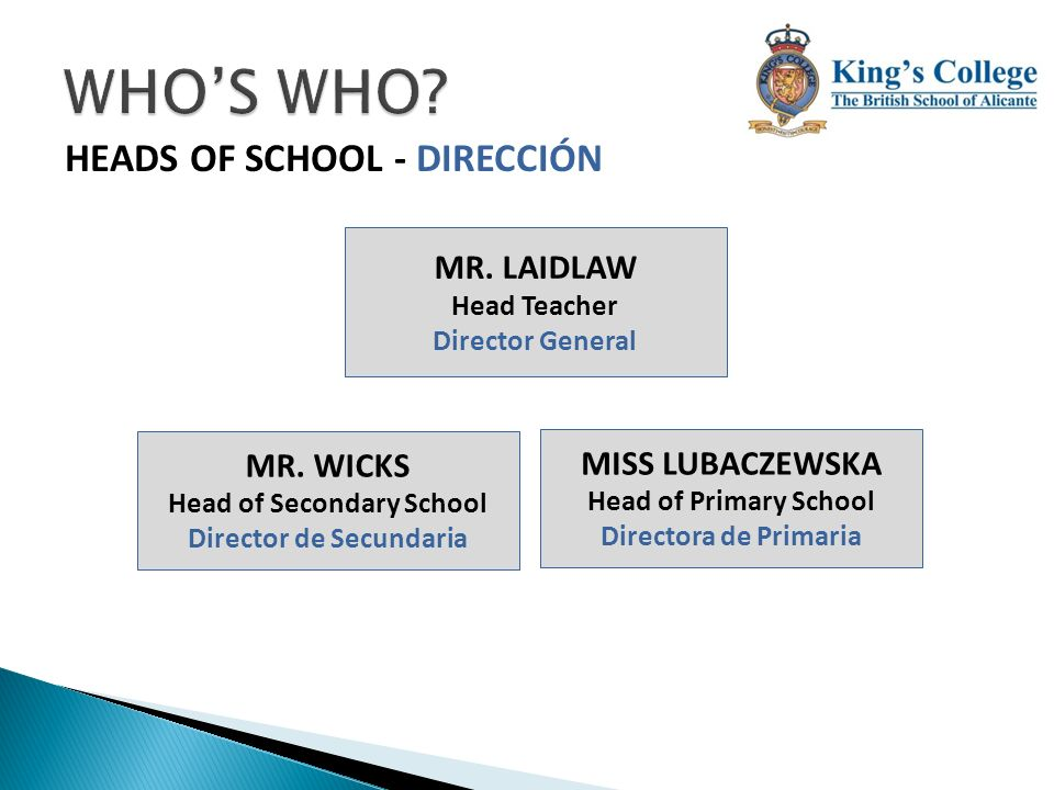 Head of Secondary School Director de Secundaria