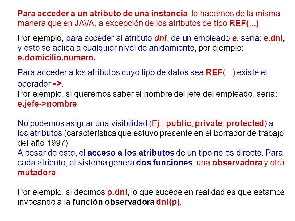 Para acceder a un atributo de una instancia, lo hacemos de la misma manera que en JAVA, a excepción de los atributos de tipo REF(...)