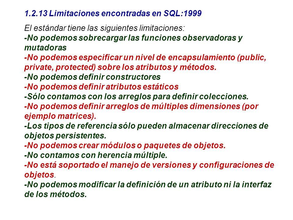 1.2.13 Limitaciones encontradas en SQL:1999
