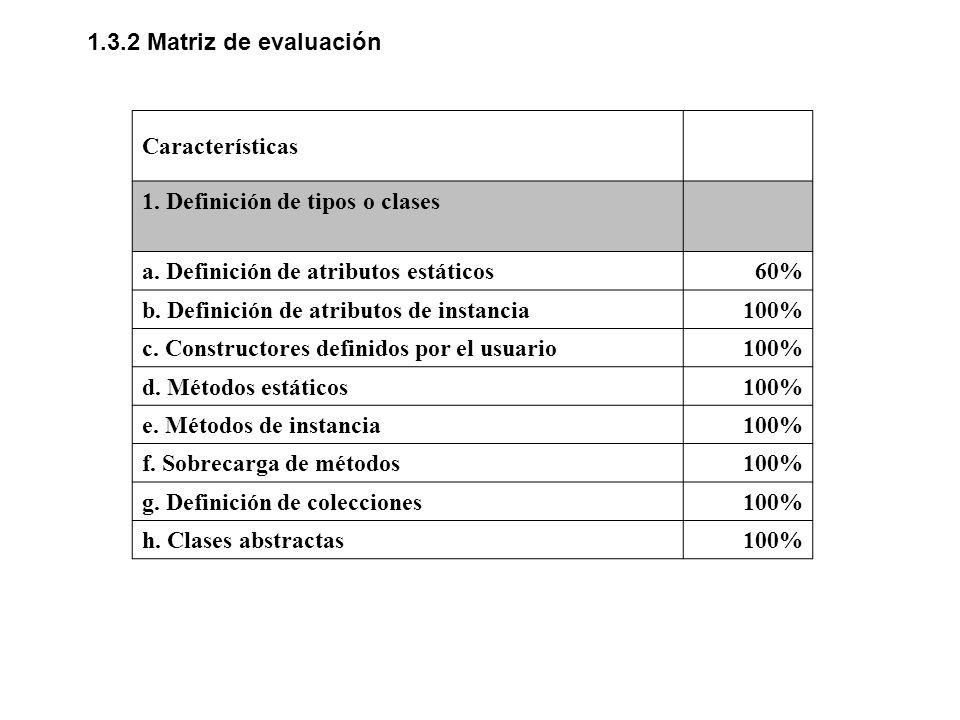 1.3.2 Matriz de evaluación Características. 1. Definición de tipos o clases. a. Definición de atributos estáticos.