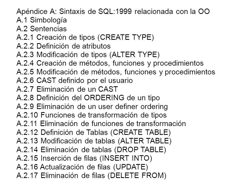 Apéndice A: Sintaxis de SQL:1999 relacionada con la OO