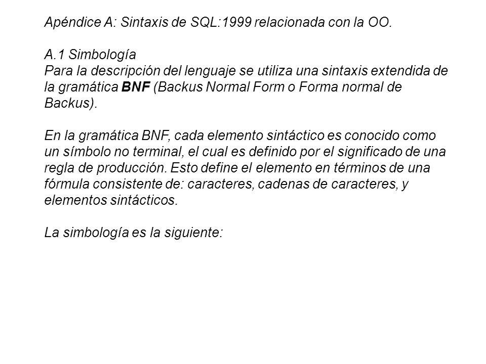 Apéndice A: Sintaxis de SQL:1999 relacionada con la OO.