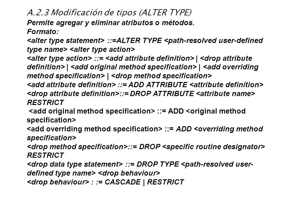 A.2.3 Modificación de tipos (ALTER TYPE)