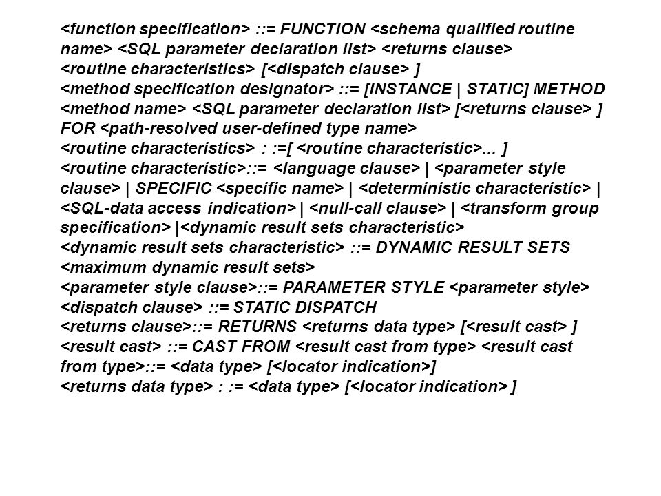 <function specification> ::= FUNCTION <schema qualified routine name> <SQL parameter declaration list> <returns clause>