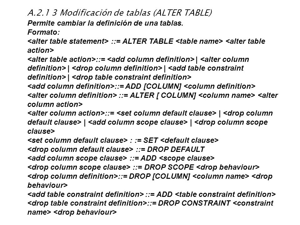 A.2.1 3 Modificación de tablas (ALTER TABLE)