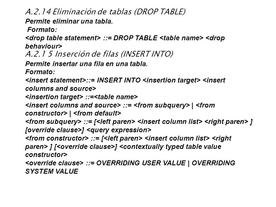 A.2.14 Eliminación de tablas (DROP TABLE)
