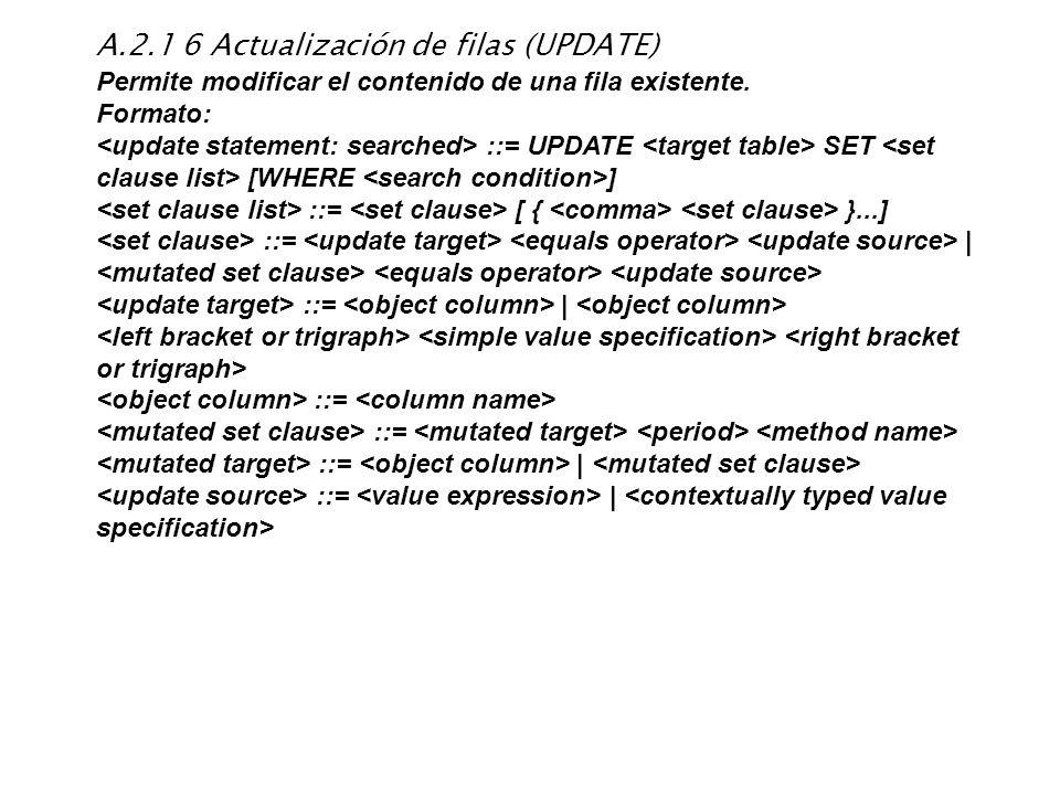 A.2.1 6 Actualización de filas (UPDATE)