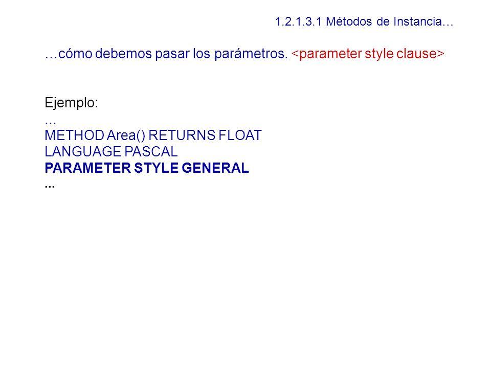 …cómo debemos pasar los parámetros. <parameter style clause>
