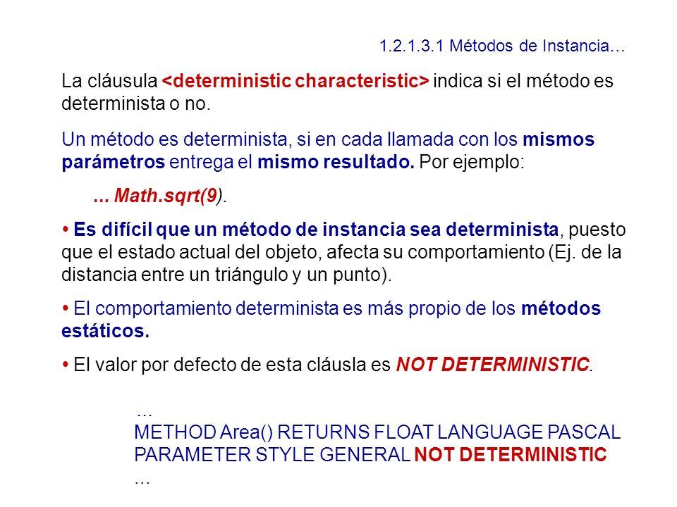 • El valor por defecto de esta cláusla es NOT DETERMINISTIC.