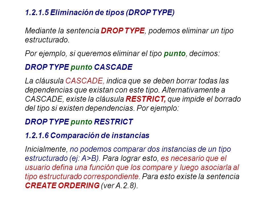 1.2.1.5 Eliminación de tipos (DROP TYPE)