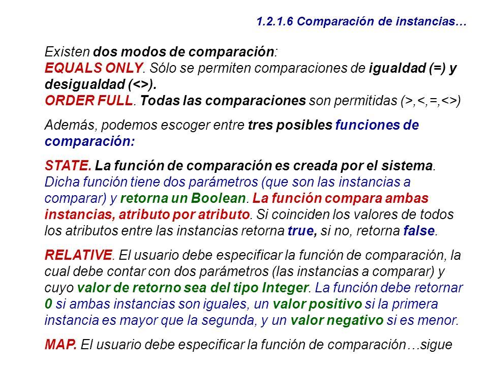 Existen dos modos de comparación: