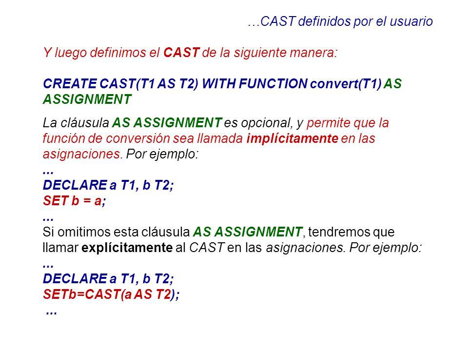 …CAST definidos por el usuario
