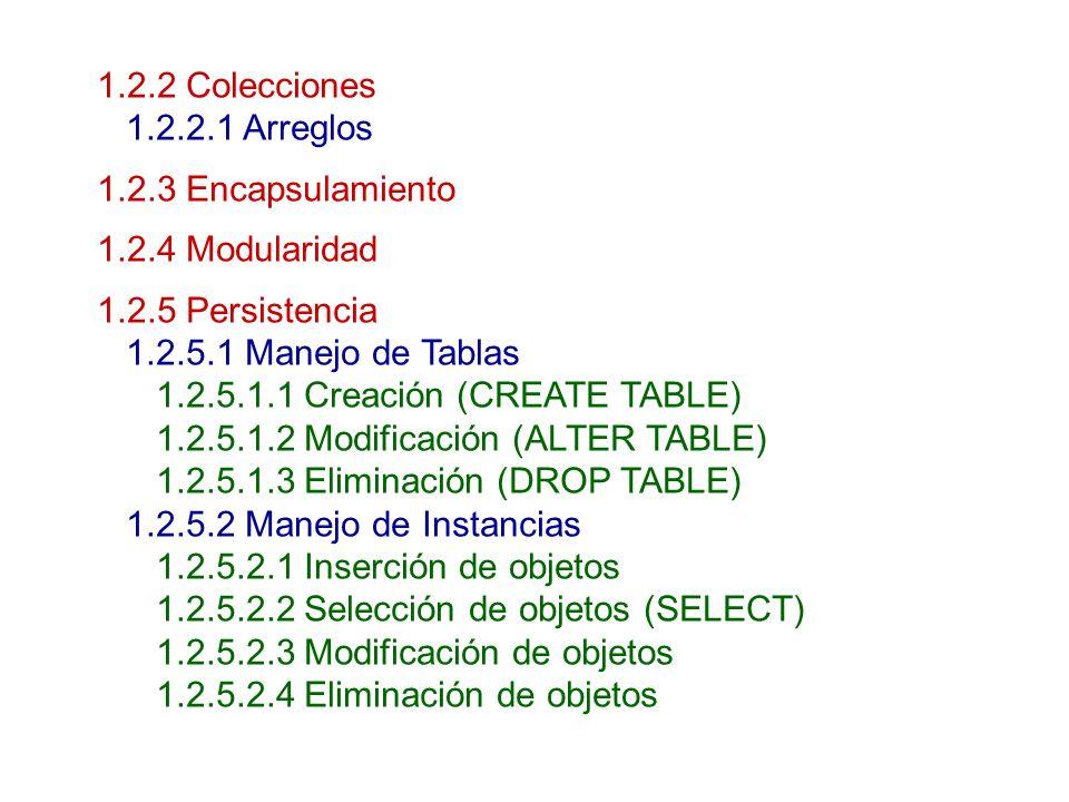 1.2.2 Colecciones1.2.2.1 Arreglos. 1.2.3 Encapsulamiento. 1.2.4 Modularidad. 1.2.5 Persistencia. 1.2.5.1 Manejo de Tablas.