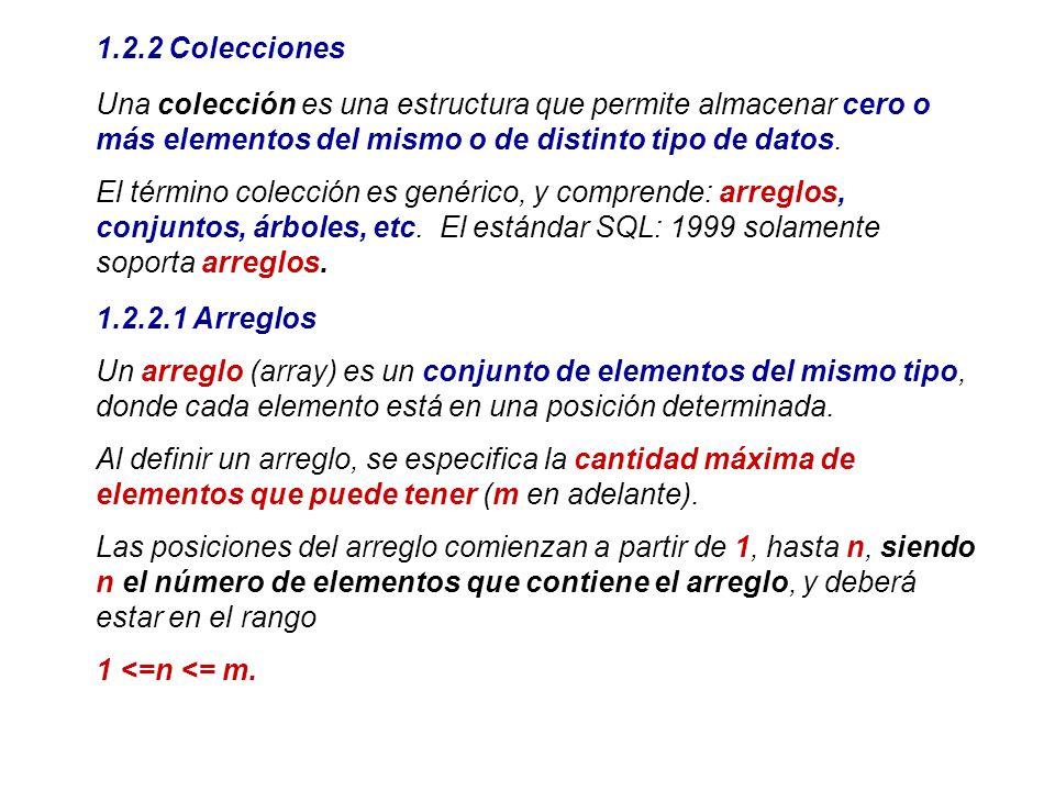 1.2.2 ColeccionesUna colección es una estructura que permite almacenar cero o más elementos del mismo o de distinto tipo de datos.