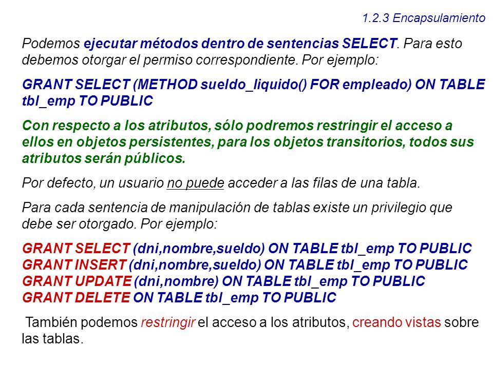 Por defecto, un usuario no puede acceder a las filas de una tabla.