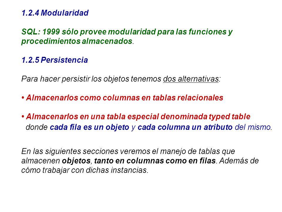 1.2.4 ModularidadSQL: 1999 sólo provee modularidad para las funciones y procedimientos almacenados.