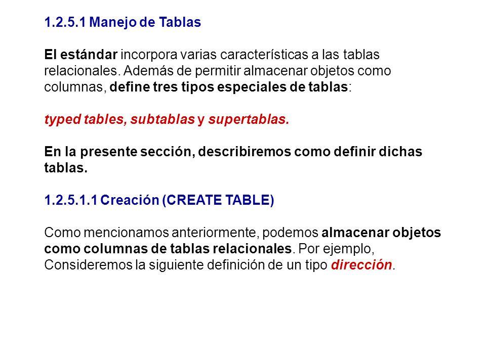 1.2.5.1 Manejo de Tablas