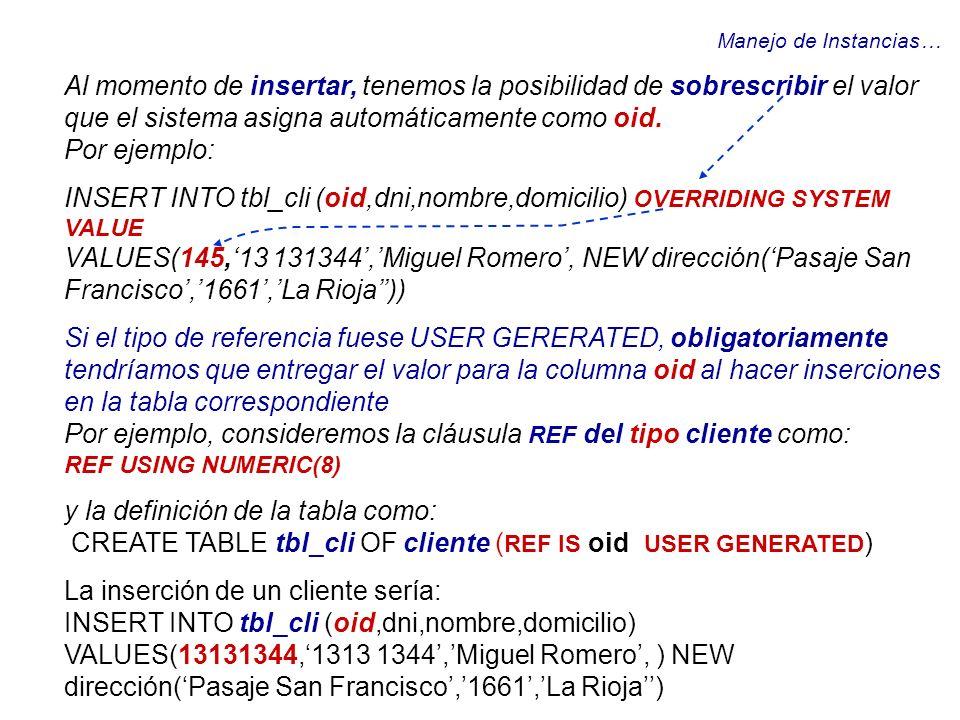 INSERT INTO tbl_cli (oid,dni,nombre,domicilio) OVERRIDING SYSTEM VALUE