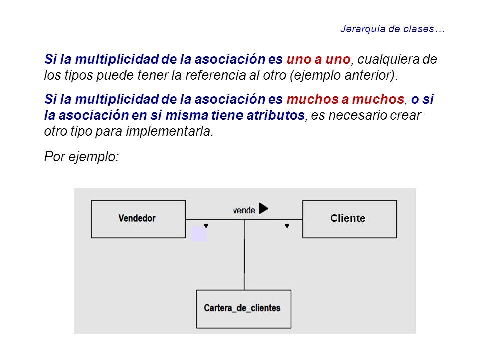Jerarquía de clases…Si la multiplicidad de la asociación es uno a uno, cualquiera de los tipos puede tener la referencia al otro (ejemplo anterior).