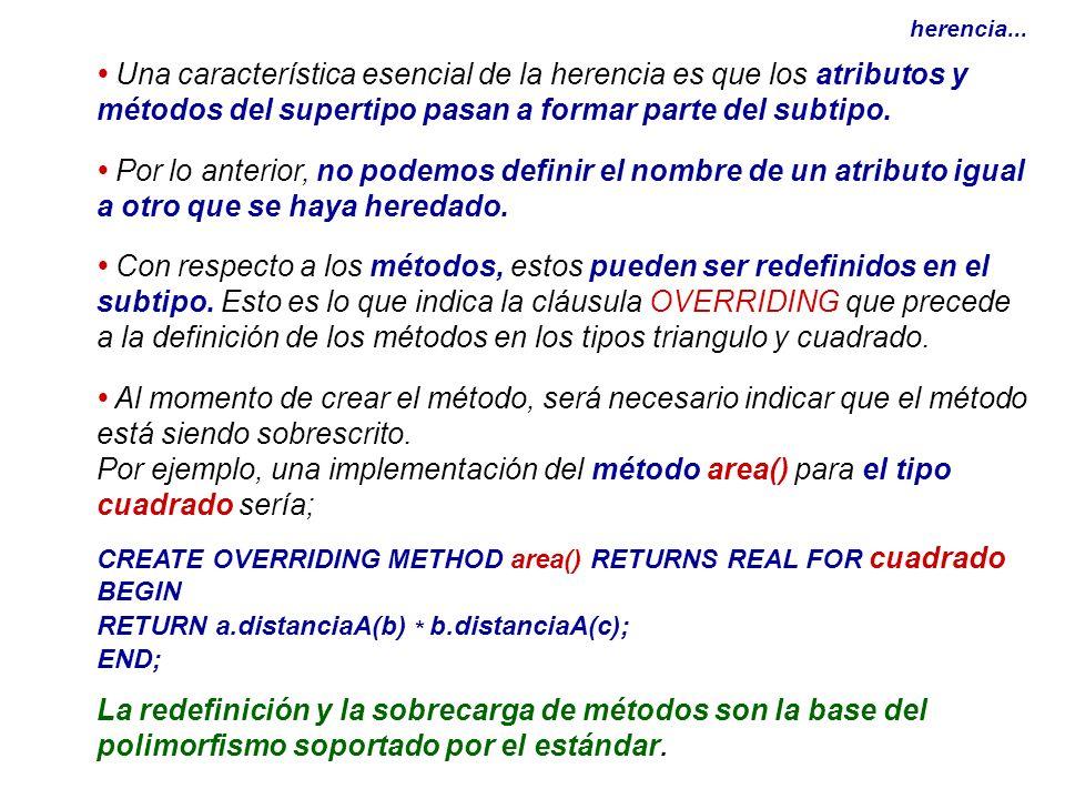 herencia...• Una característica esencial de la herencia es que los atributos y métodos del supertipo pasan a formar parte del subtipo.