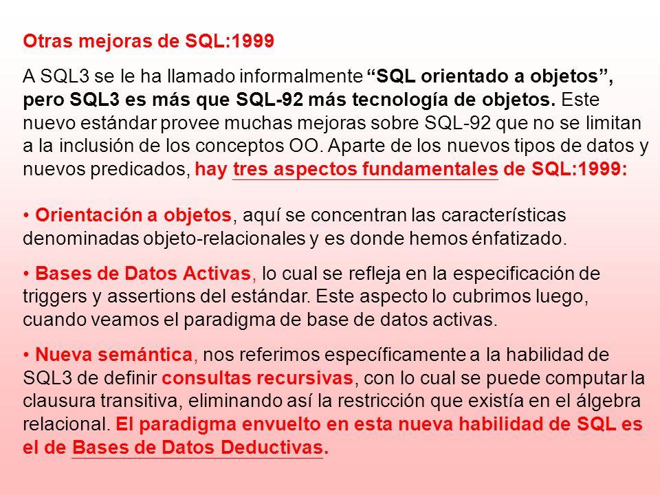 Otras mejoras de SQL:1999