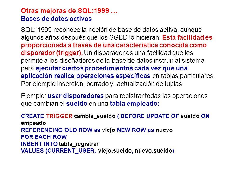 Otras mejoras de SQL:1999 … Bases de datos activas