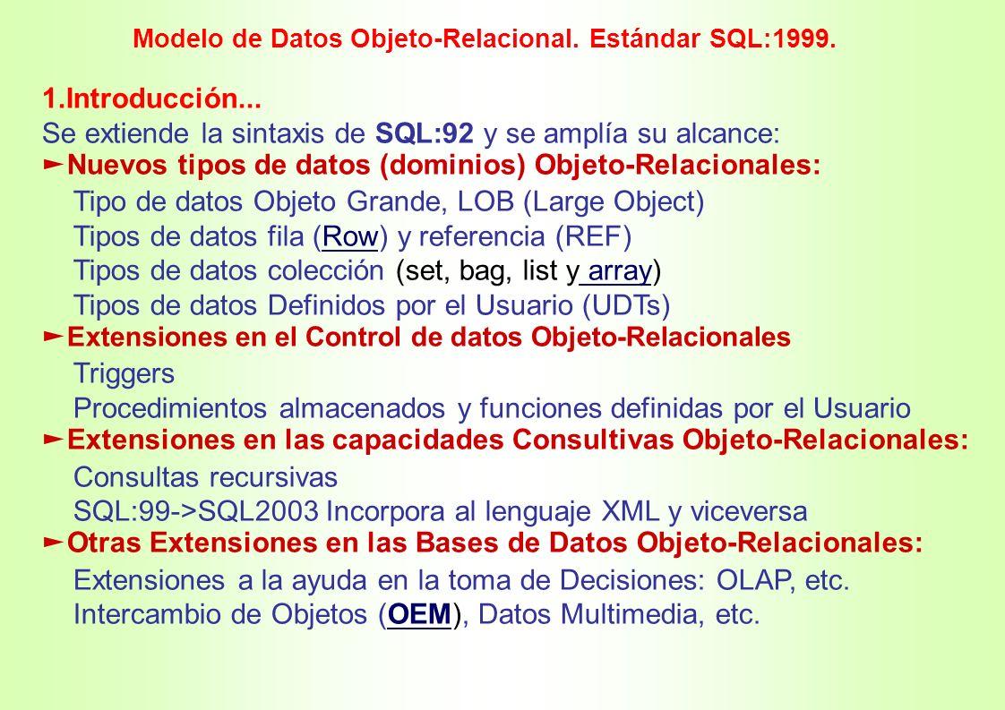 Se extiende la sintaxis de SQL:92 y se amplía su alcance: