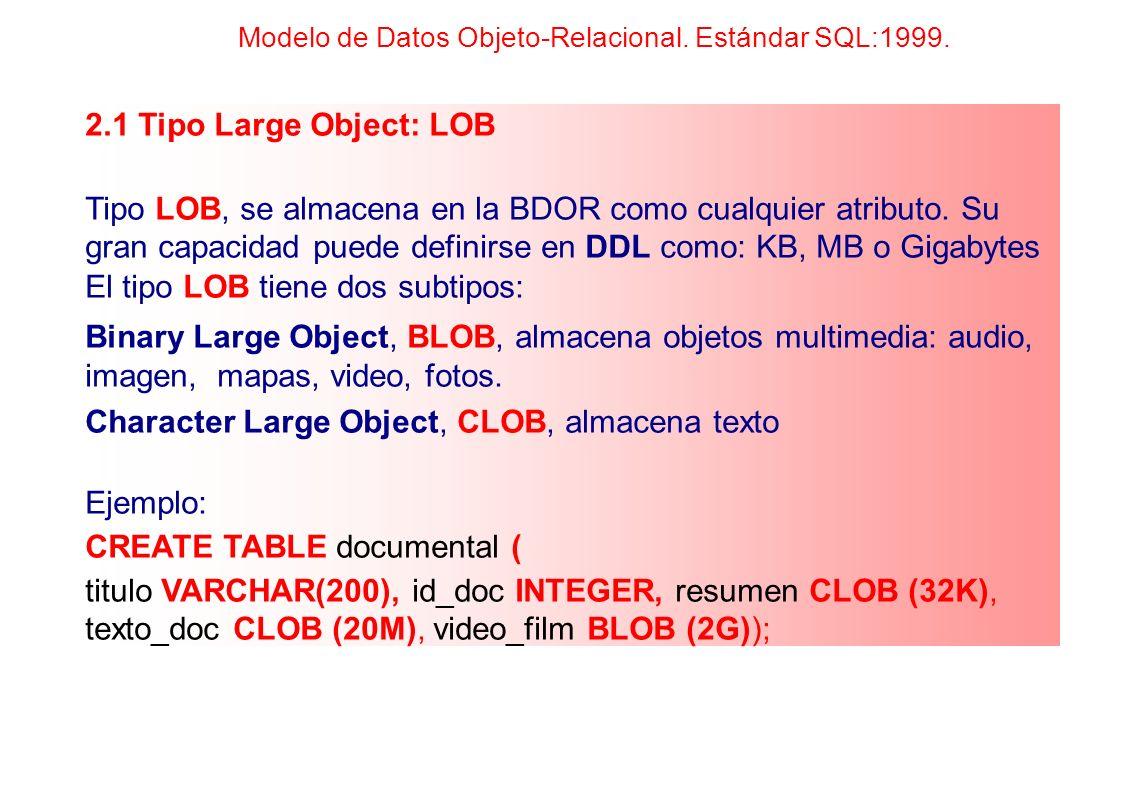 El tipo LOB tiene dos subtipos: