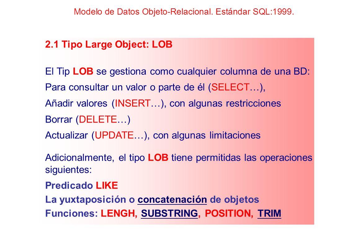El Tip LOB se gestiona como cualquier columna de una BD: