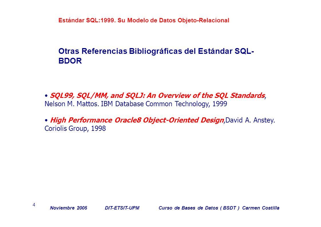 Otras Referencias Bibliográficas del Estándar SQL-BDOR