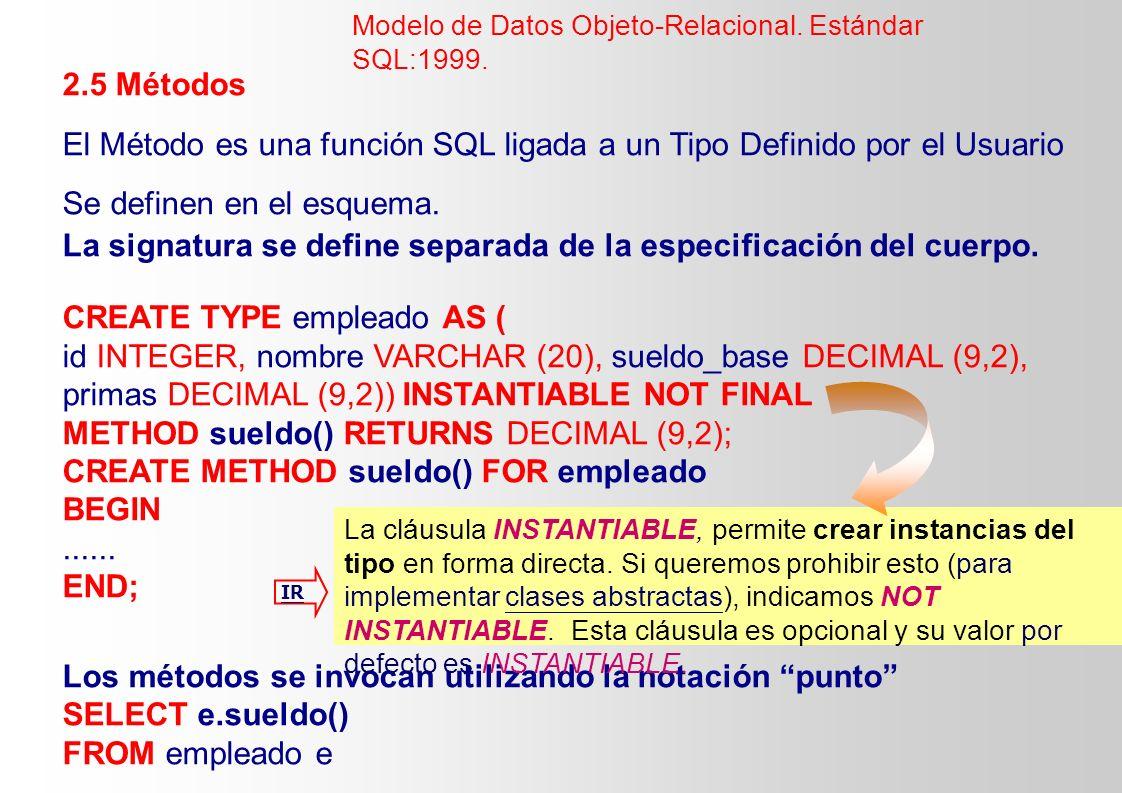 El Método es una función SQL ligada a un Tipo Definido por el Usuario