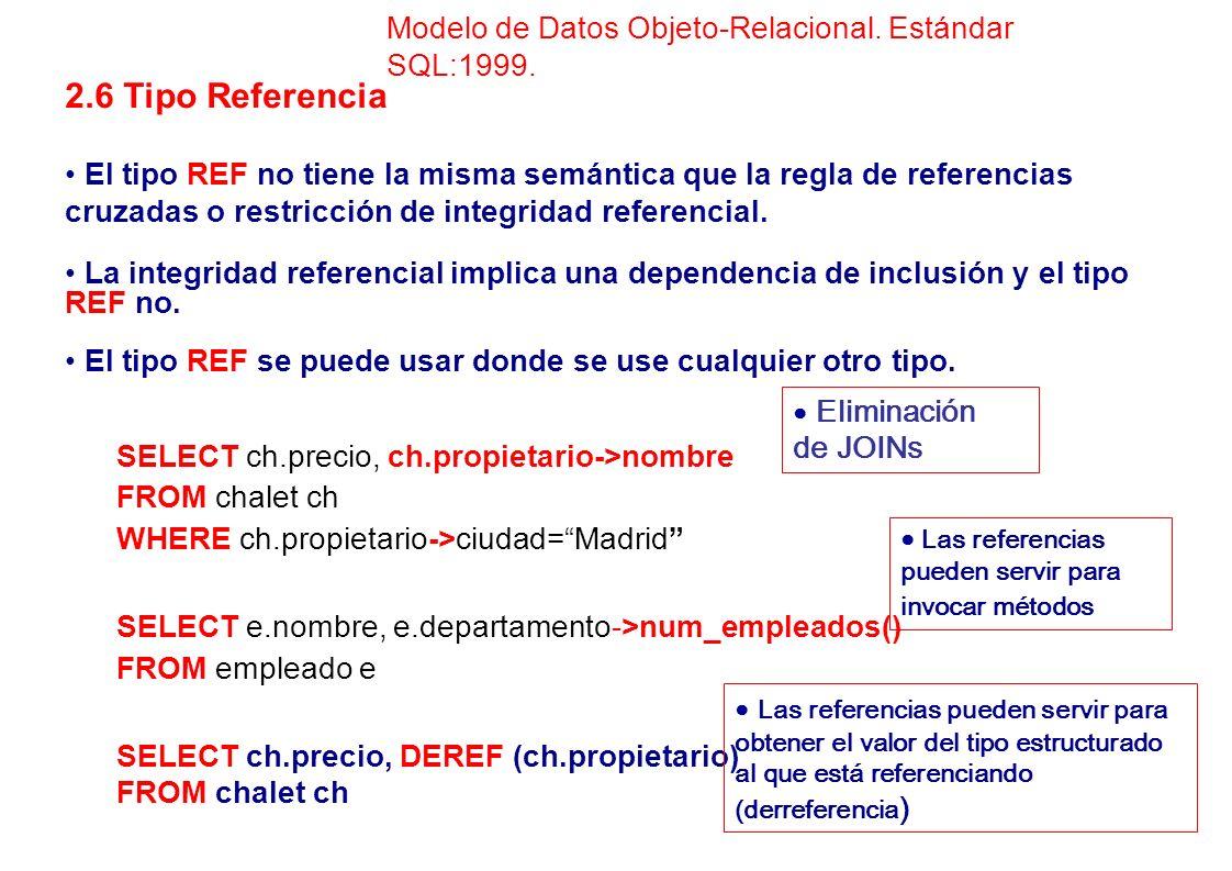 Modelo de Datos Objeto-Relacional. Estándar SQL:1999.