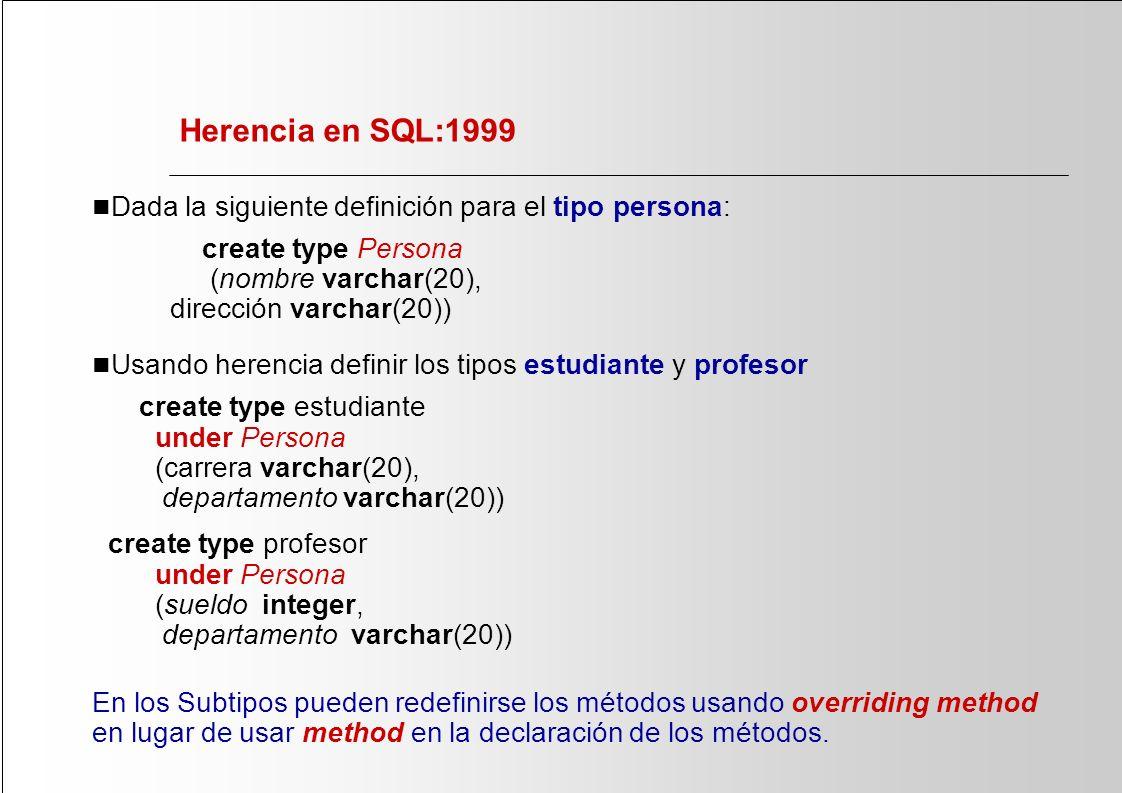 Herencia en SQL:1999 Dada la siguiente definición para el tipo persona: create type Persona (nombre varchar(20), dirección varchar(20))