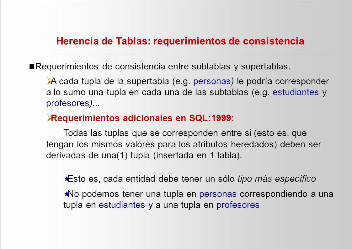 Herencia de Tablas: requerimientos de consistencia