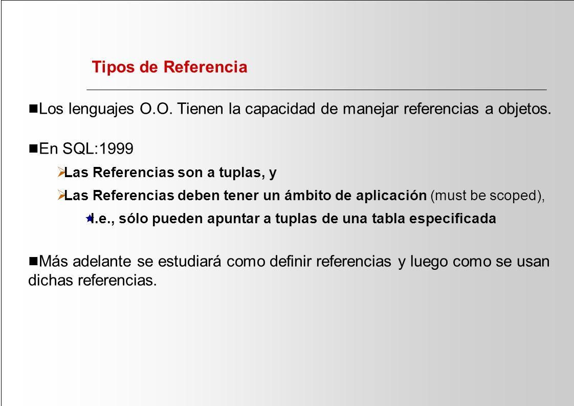 Tipos de Referencia Los lenguajes O.O. Tienen la capacidad de manejar referencias a objetos. En SQL:1999.