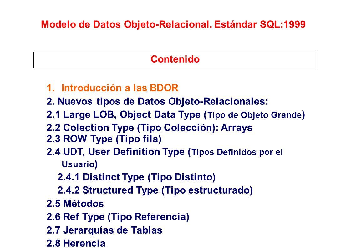 Modelo de Datos Objeto-Relacional. Estándar SQL:1999
