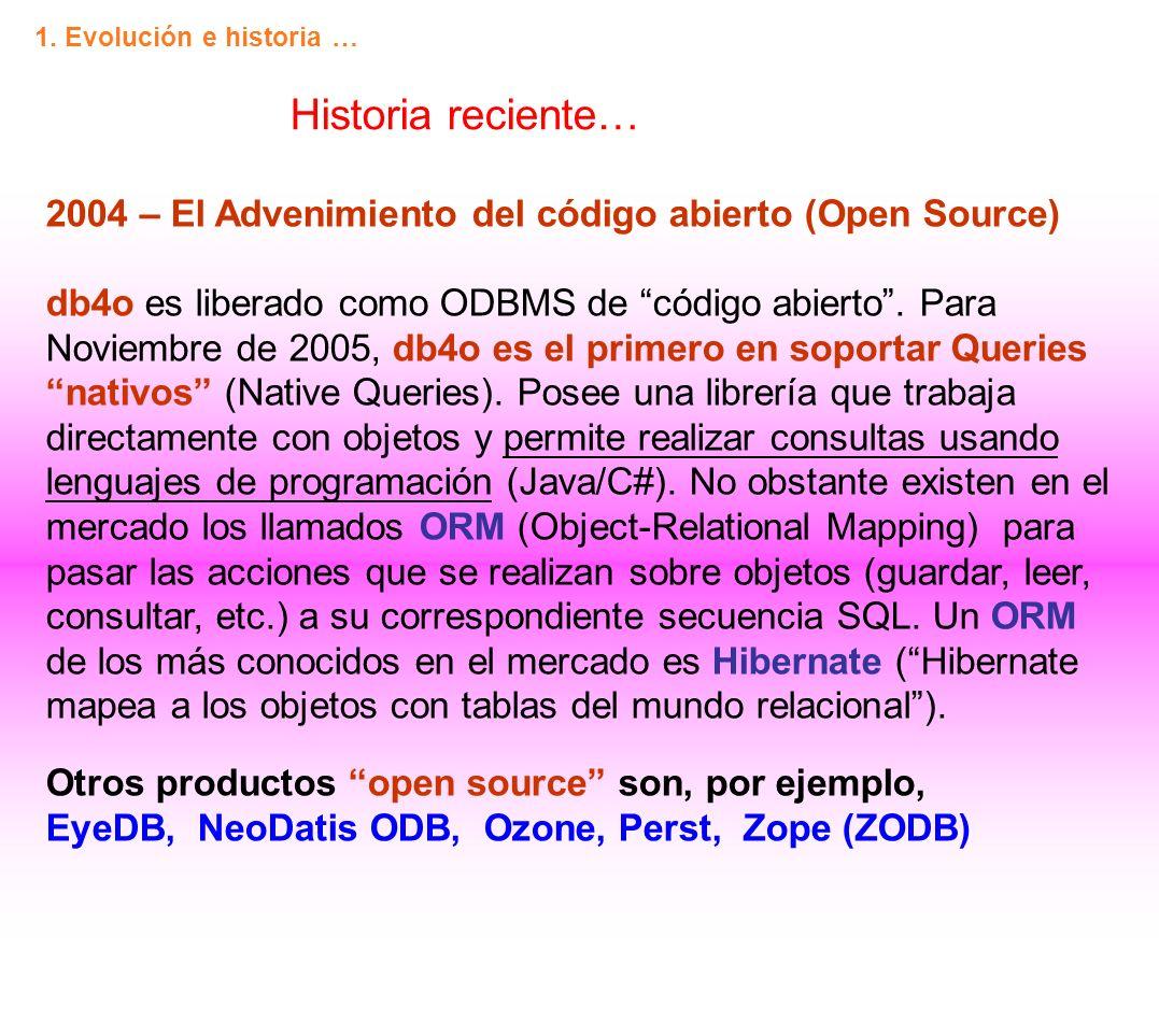 1. Evolución e historia … Historia reciente…
