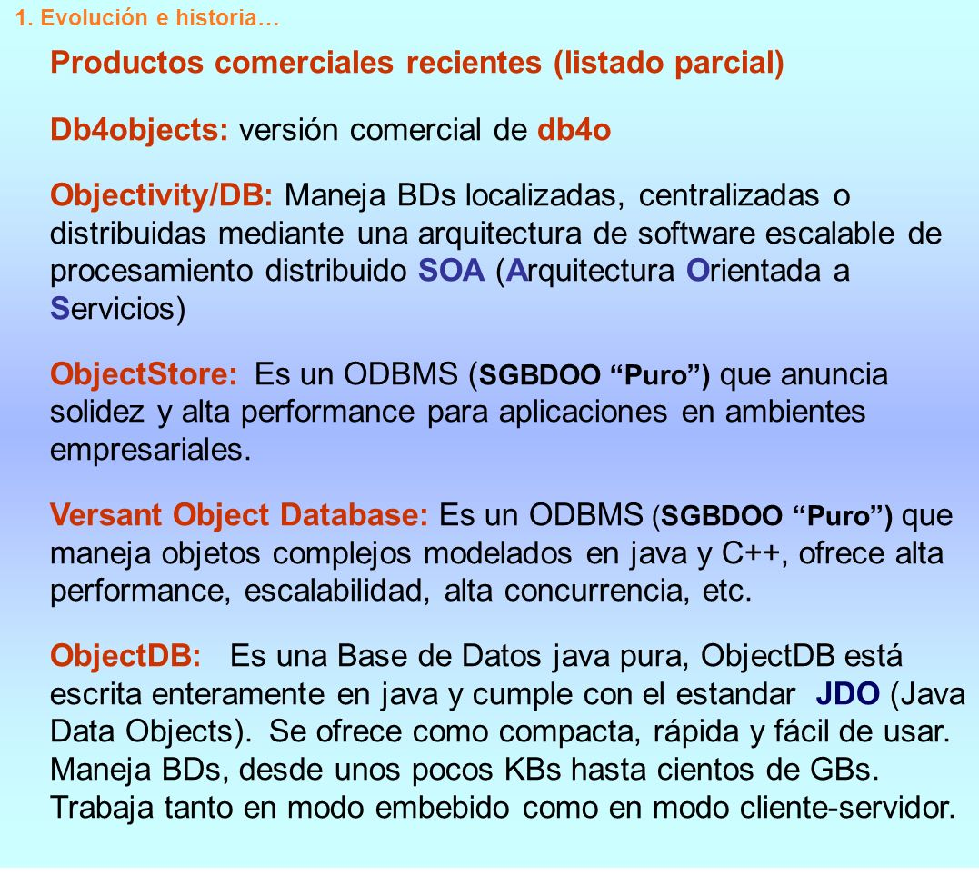 Productos comerciales recientes (listado parcial)