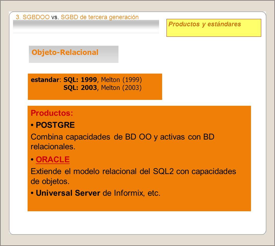 Combina capacidades de BD OO y activas con BD relacionales. • ORACLE