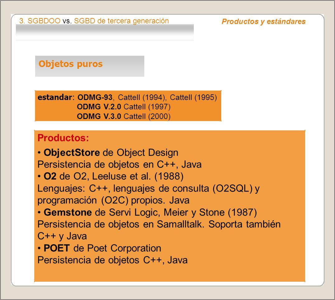 • ObjectStore de Object Design Persistencia de objetos en C++, Java