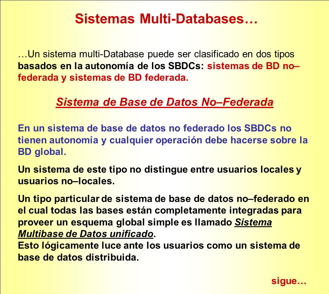 Sistema de Base de Datos No–Federada