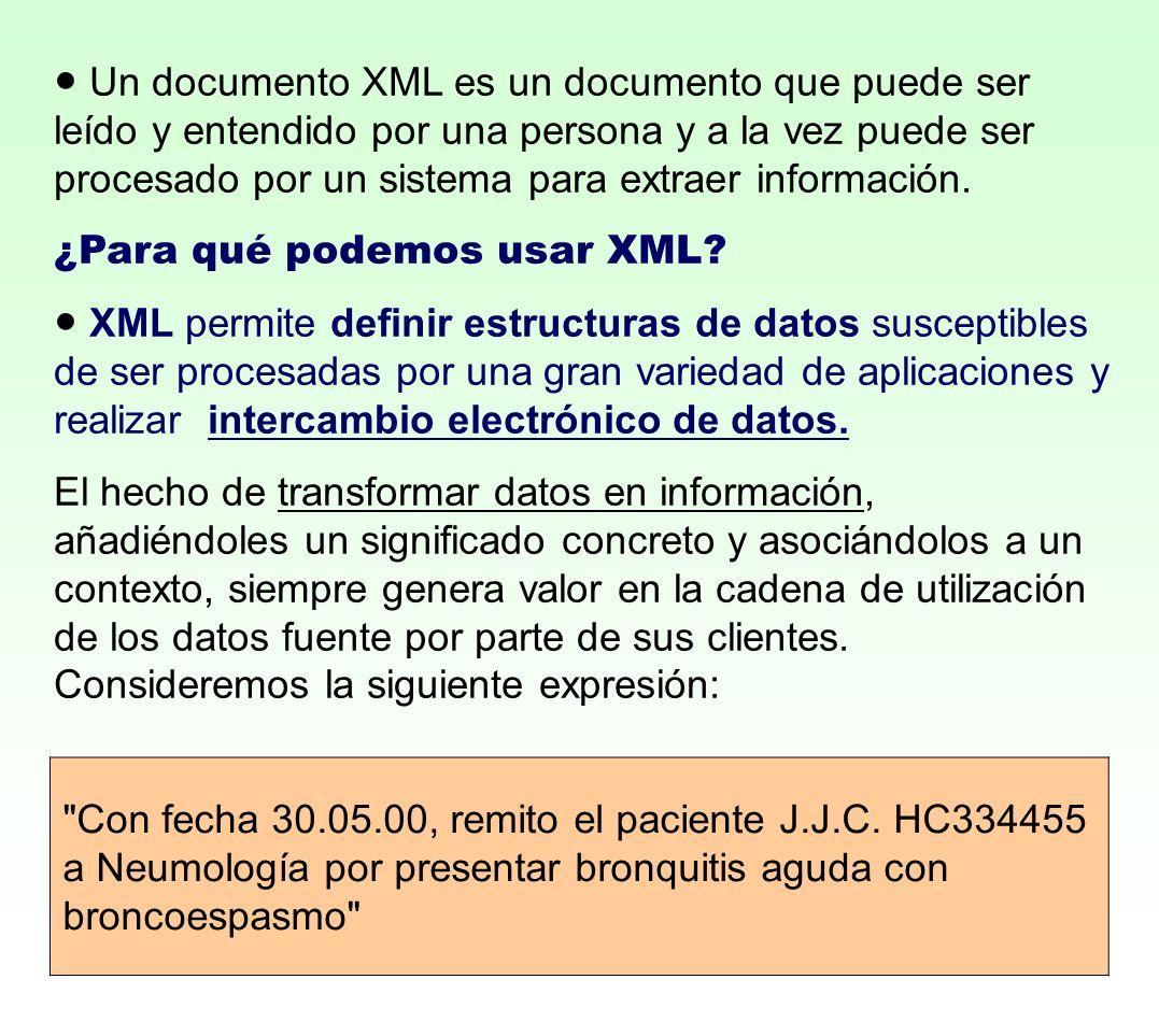● Un documento XML es un documento que puede ser leído y entendido por una persona y a la vez puede ser procesado por un sistema para extraer información.